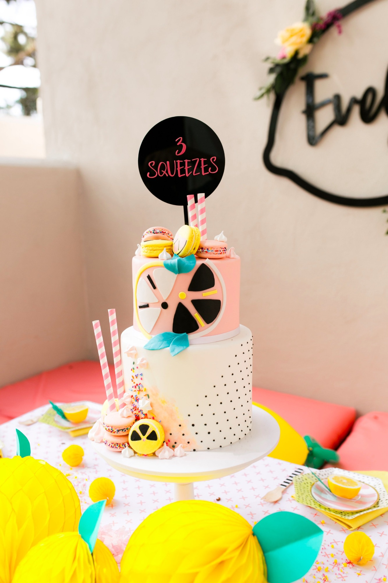 Birthday cake from Lemonade Stand Birthday Party by Forrest and J. | Black Twine