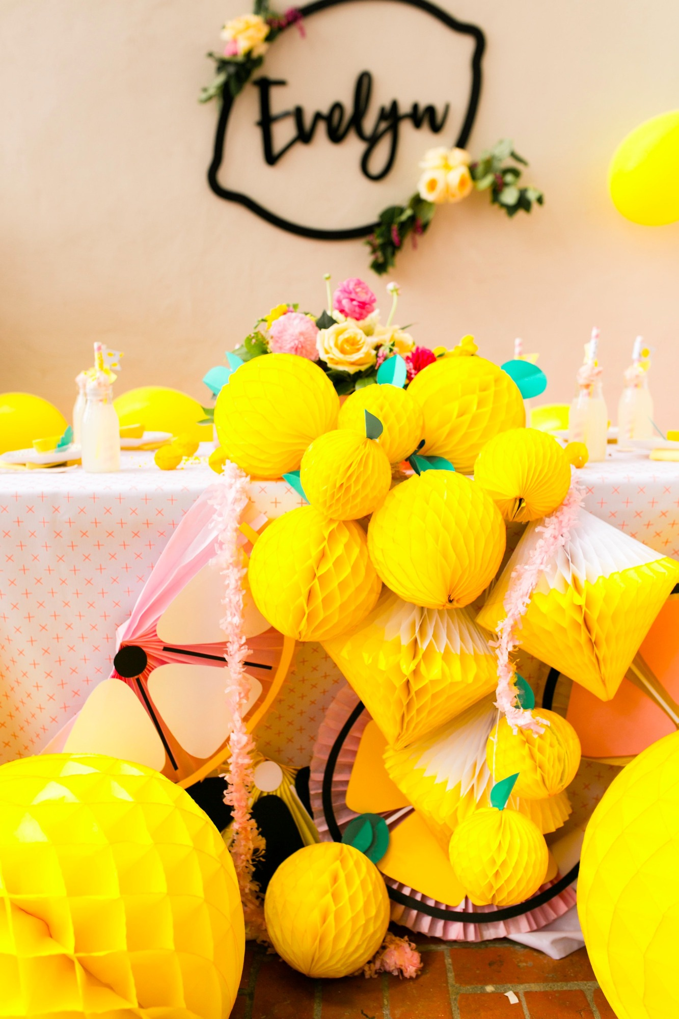 Lemon honeycomb decor from Lemonade Stand Birthday Party by Forrest and J. | Black Twine