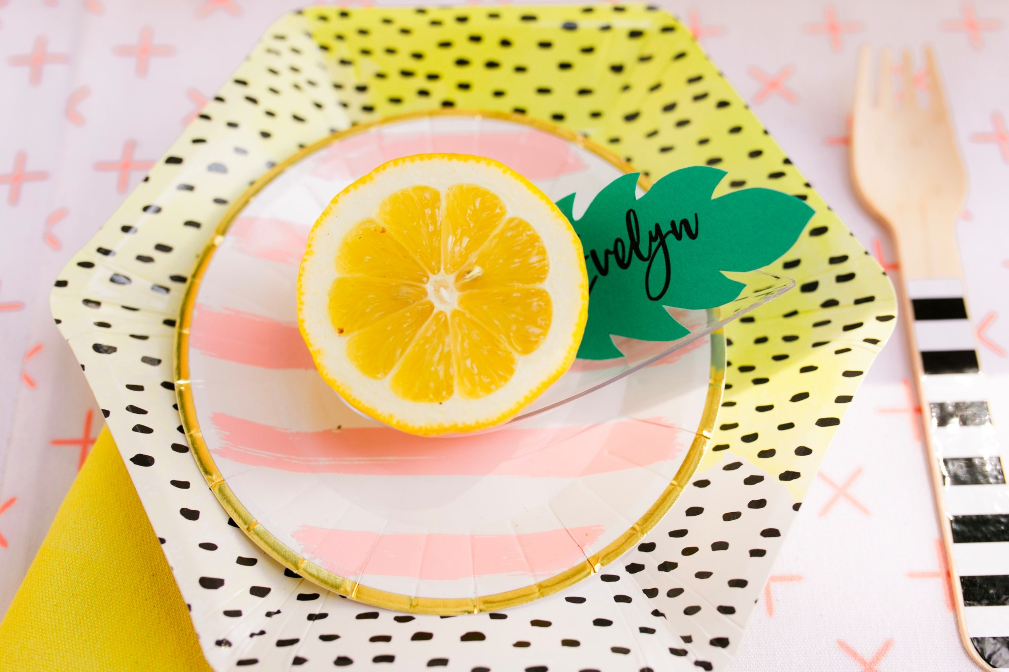 lemon place setting from Lemonade Stand Birthday Party by Forrest and J. | Black Twine