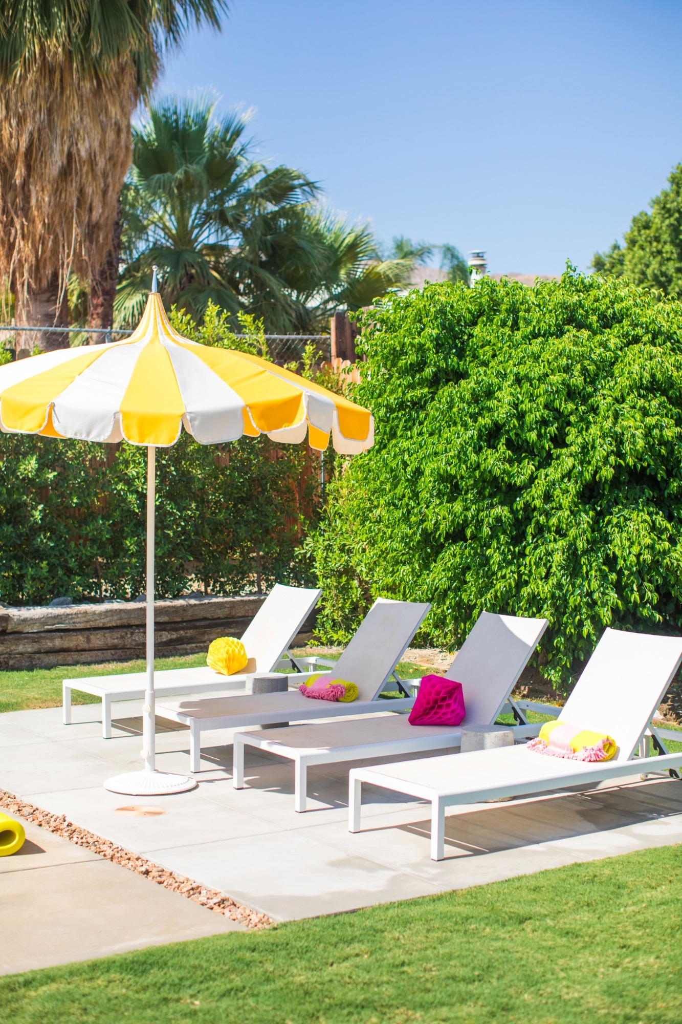 Poolside Umbrella Chairs from Bachelorette Brunch by But First Party and Bonjour Fete | Black Twine