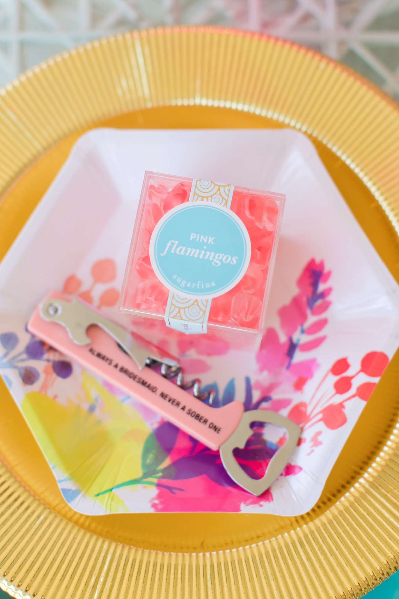 Sugarfina bottleopener place setting from Bachelorette Brunch by But First Party and Bonjour Fete | Black Twine