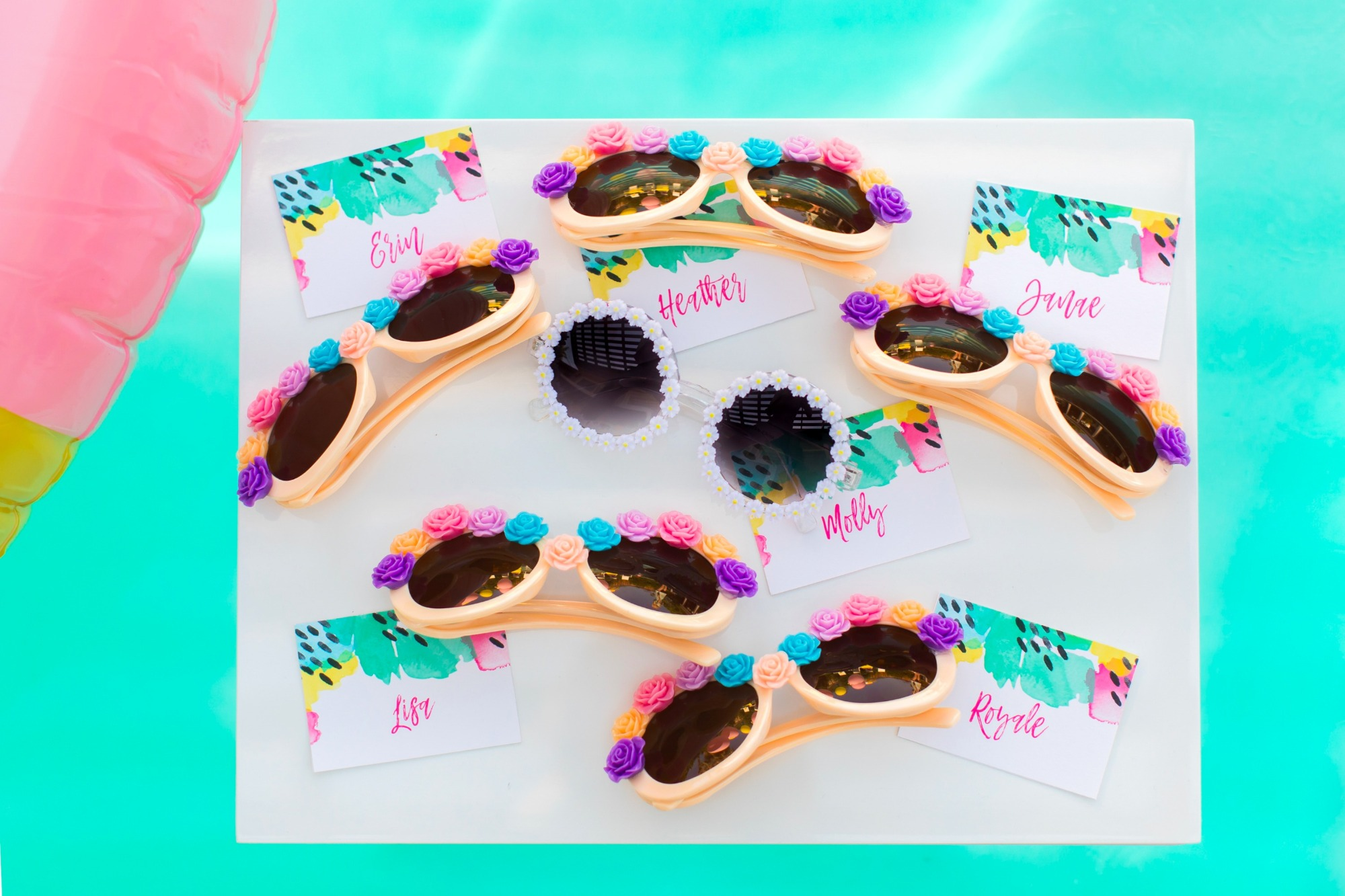 Sunglasses Favors from Bachelorette Brunch by But First Party and Bonjour Fete | Black Twine