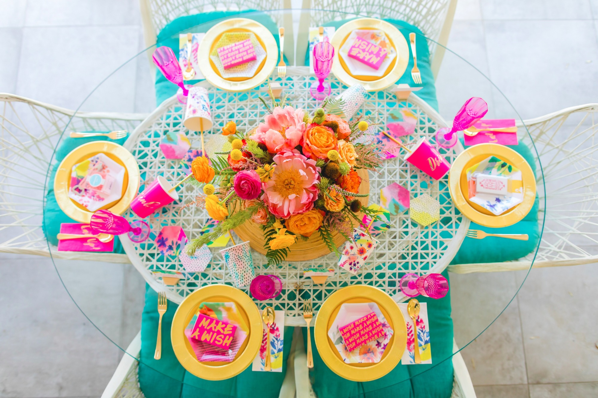 Tablescape from Bachelorette Brunch by But First Party and Bonjour Fete | Black Twine