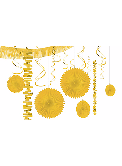 yellow garland and paper fan set party city