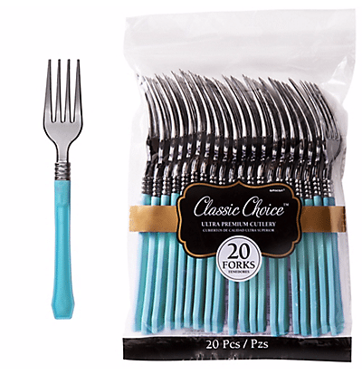 classic silver and blue premium forks party city