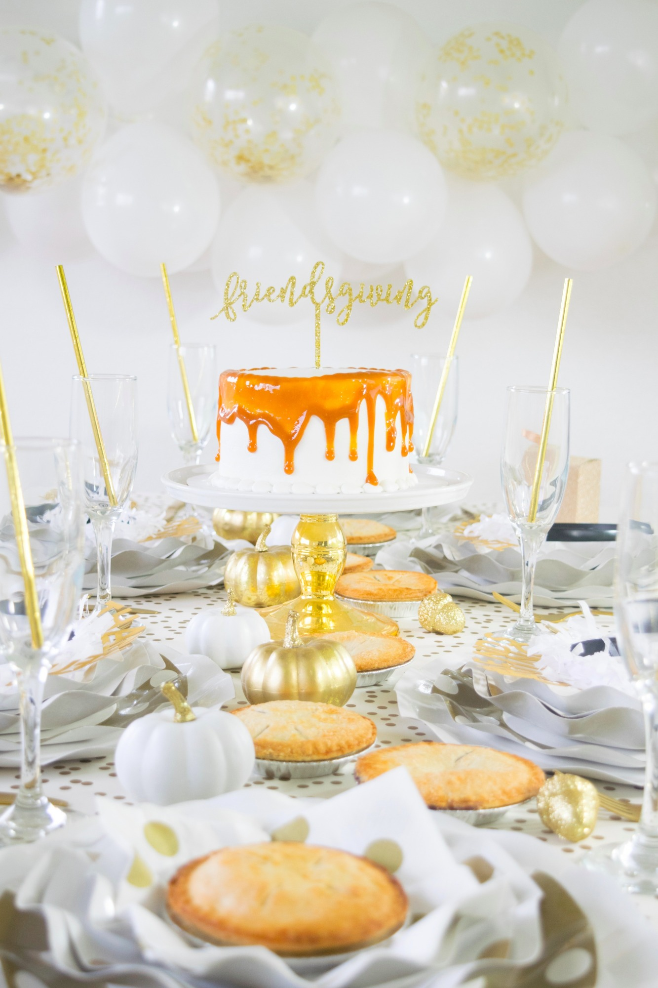 Friendsgiving Cake Balloons Tablescape Place Settings Friendsgiving Thanksgiving Party by Twinkle Twinkle Little Party | Black Twine