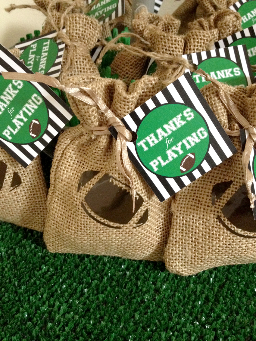 Favor Bags from Football Party by BellaGrey Designs | Black Twine