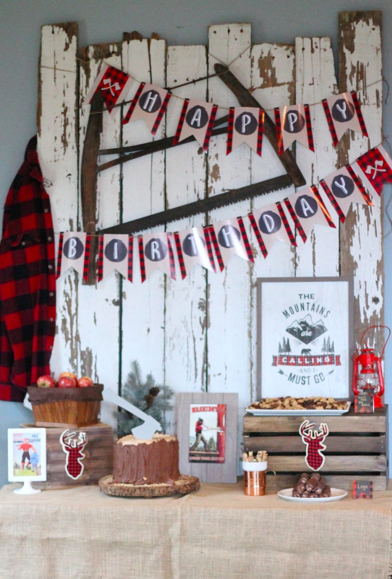 Food Table for Lumberjack Party by AK Party Studio | Black Twine