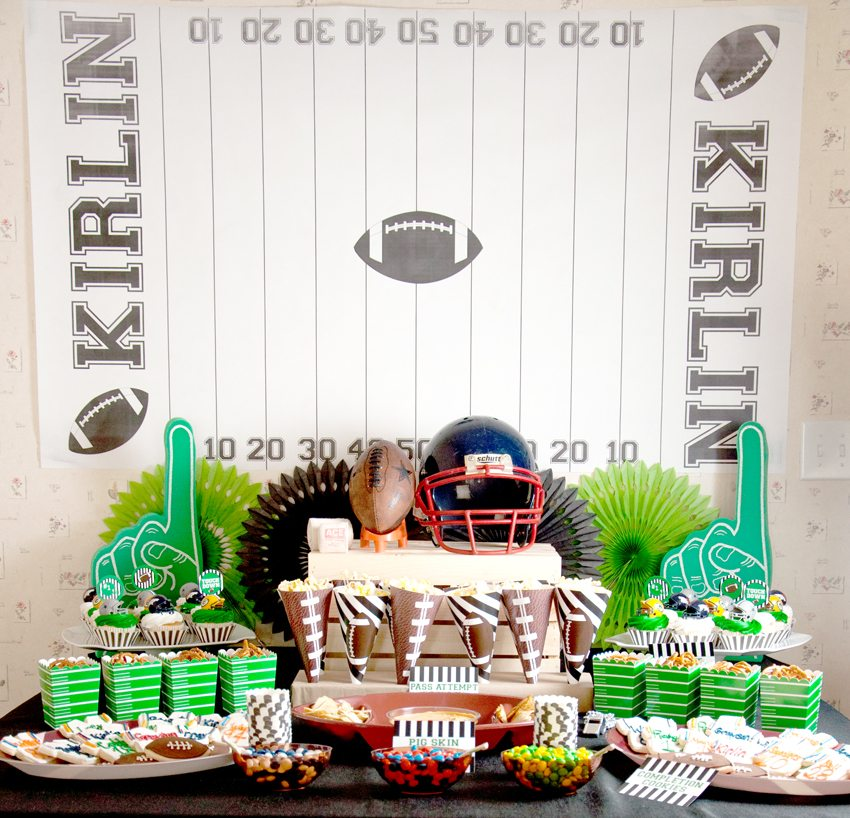 Food Table Cupcakes Popcorn from Football Party by BellaGrey Designs | Black Twine