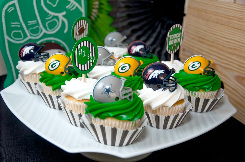 Cupcakes with football helmet toppers from Football Party by BellaGrey Designs | Black Twine
