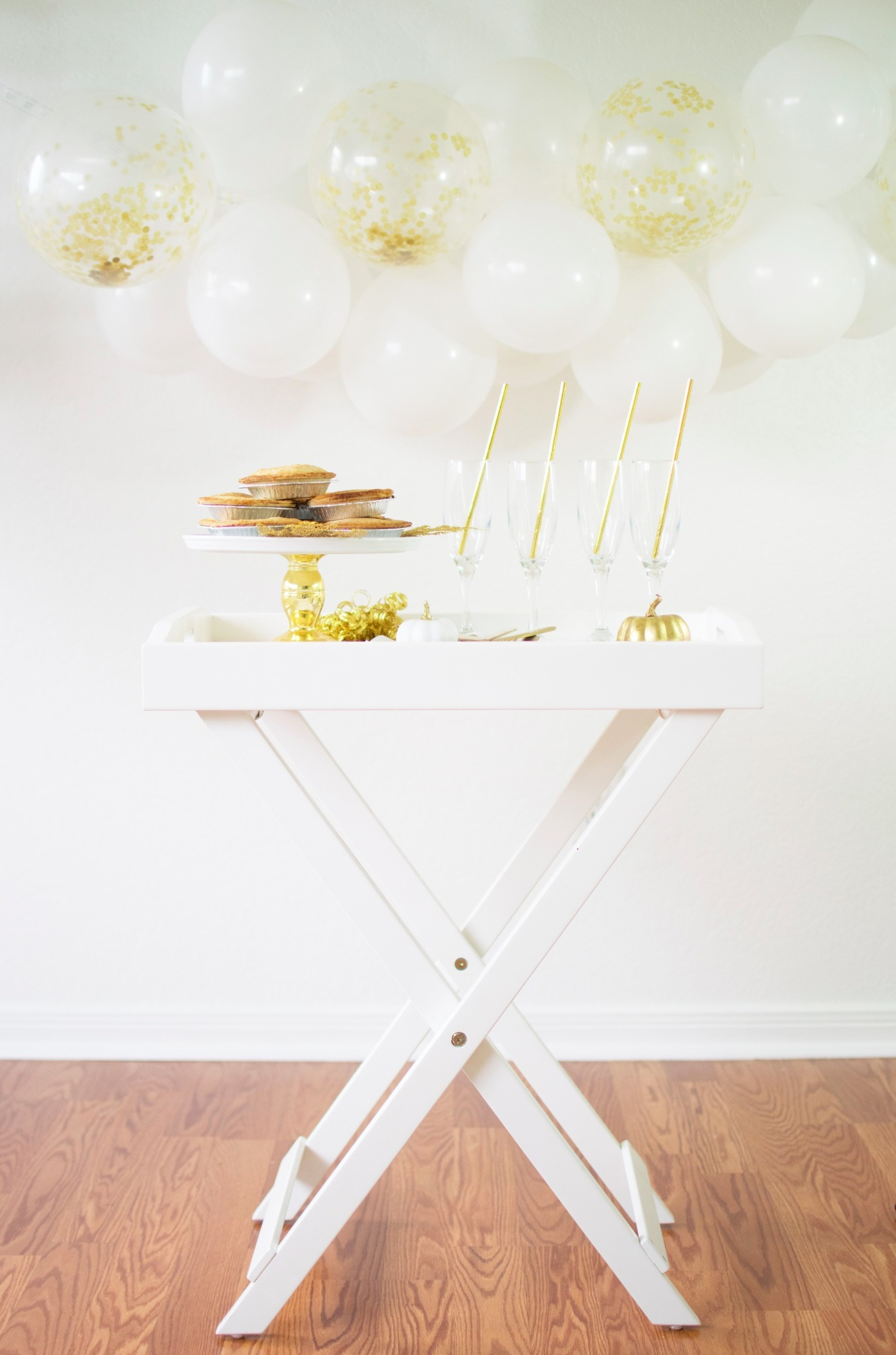 Pies Glasses on Small White Table Friendsgiving Thanksgiving Party by Twinkle Twinkle Little Party | Black Twine