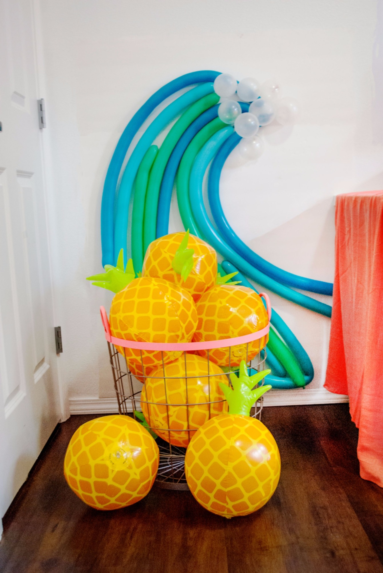 Pineapple Inflatables and Balloons from Moana Birthday Party by Itsy Belle Studio | Black Twine