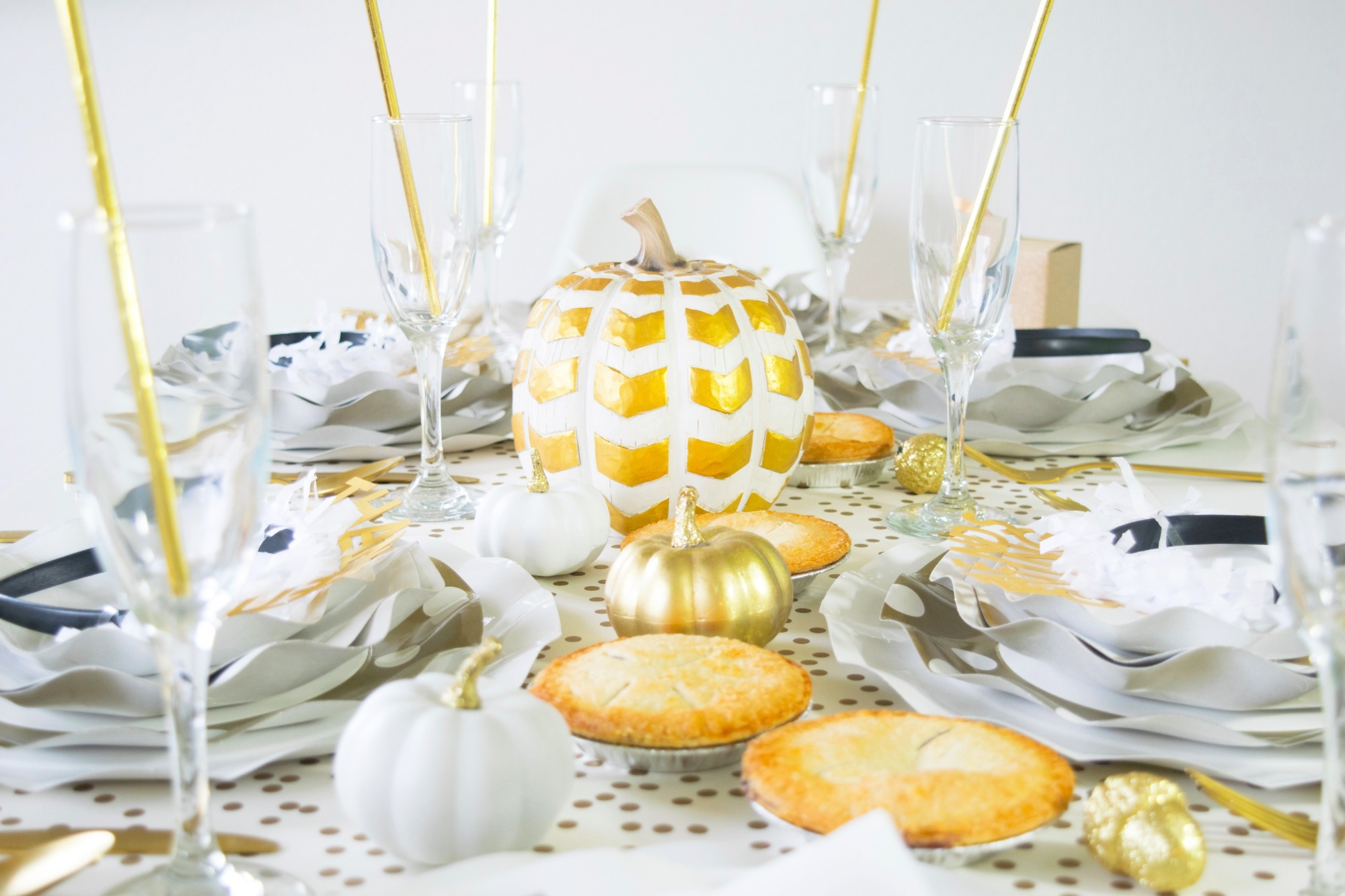 Pumpkins Pies Place Setting Friendsgiving Thanksgiving Party by Twinkle Twinkle Little Party | Black Twine