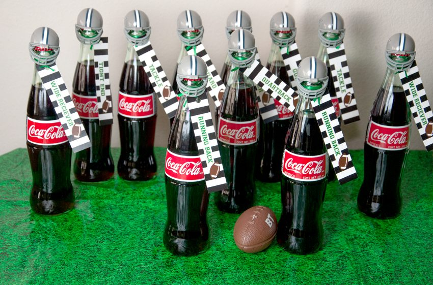 Soda bottles with football helmets from Football Party by BellaGrey Designs | Black Twine