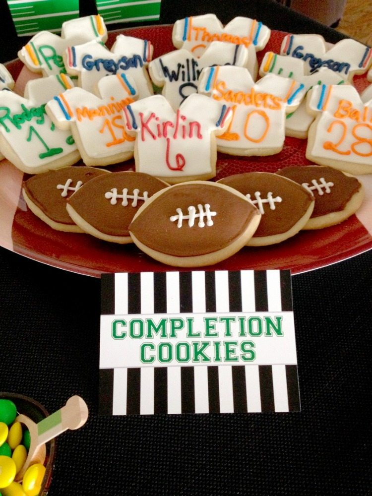 Football sugar cookies Cupcakes with football from Football Party by BellaGrey Designs | Black Twine