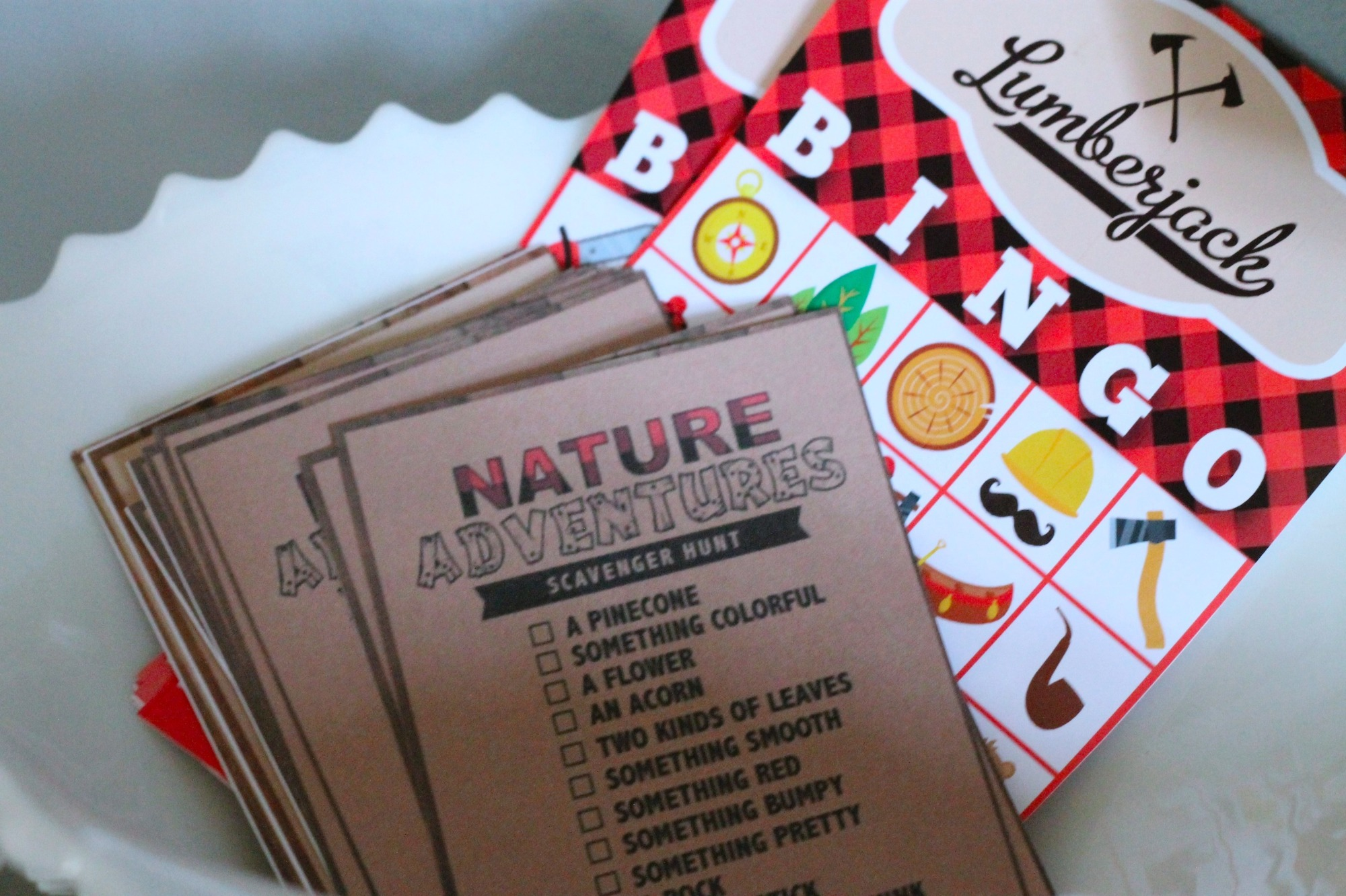 Bingo Scavenger Hunt Games Activities for Lumberjack Party by AK Party Studio | Black Twine