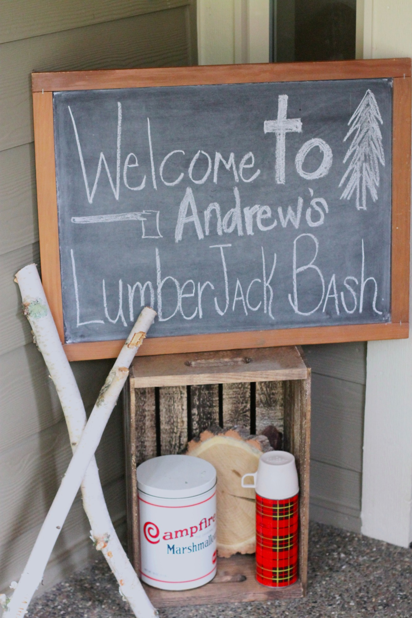 welcome sign for Lumberjack Party by AK Party Studio | Black Twine