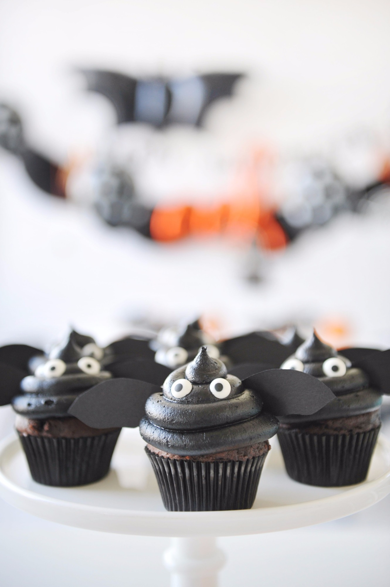 Bat Cupcakes from Halloween Party by Happy Wish Company | Black Twine