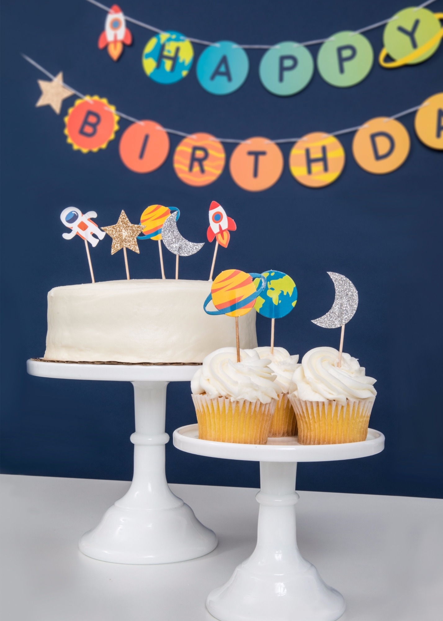 Birthday Cake and cupcakes from To The Moon Birthday Party by Merrilulu | Black Twine