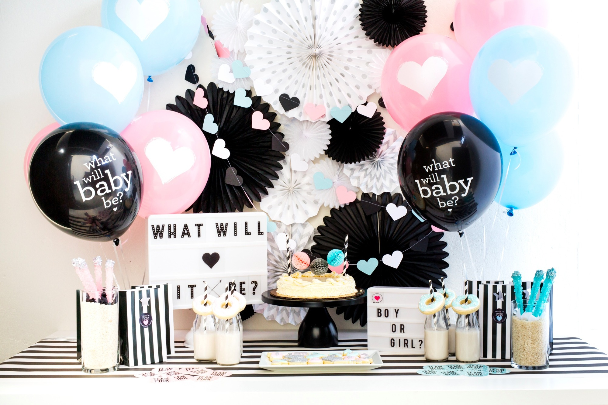 5aa65a605 Dessert Table and Balloon   Garland from Oh Baby! Gender Reveal Baby Shower