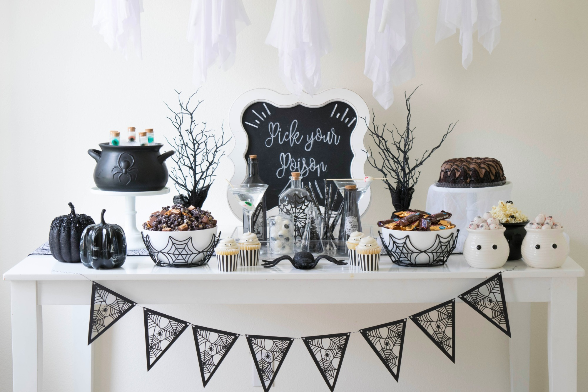 Food Table from Ghostly Halloween Party by Twinkle Twinkle Little Party | Black Twine