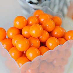 Halloween Sweets - Scalloped Plastic Container Orange Gumballs Candy Sticks - Happy Wish Company