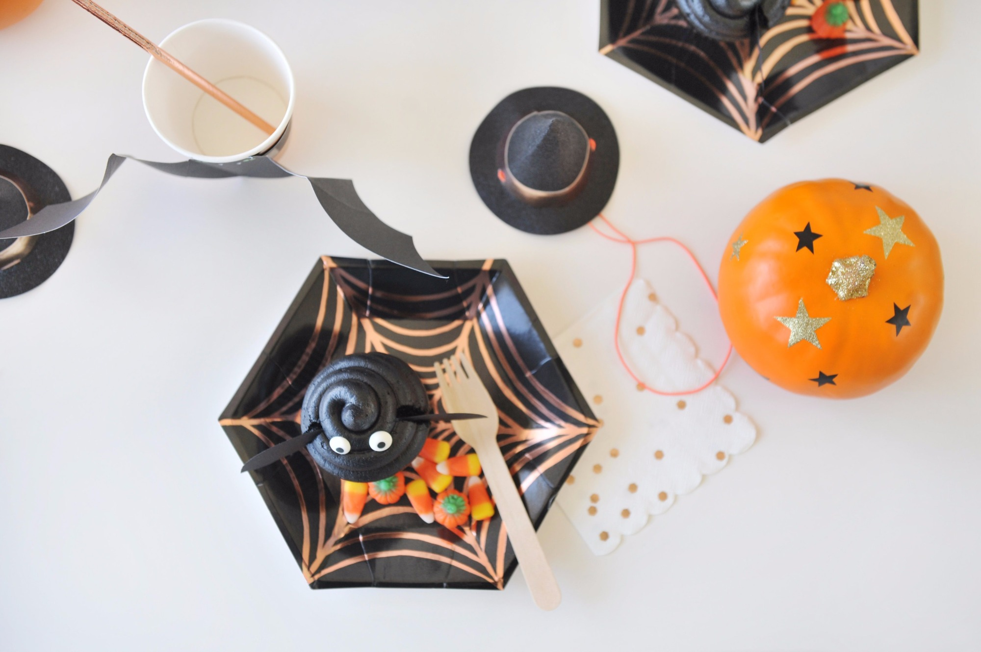 Place Setting from Halloween Party by Happy Wish Company | Black Twine