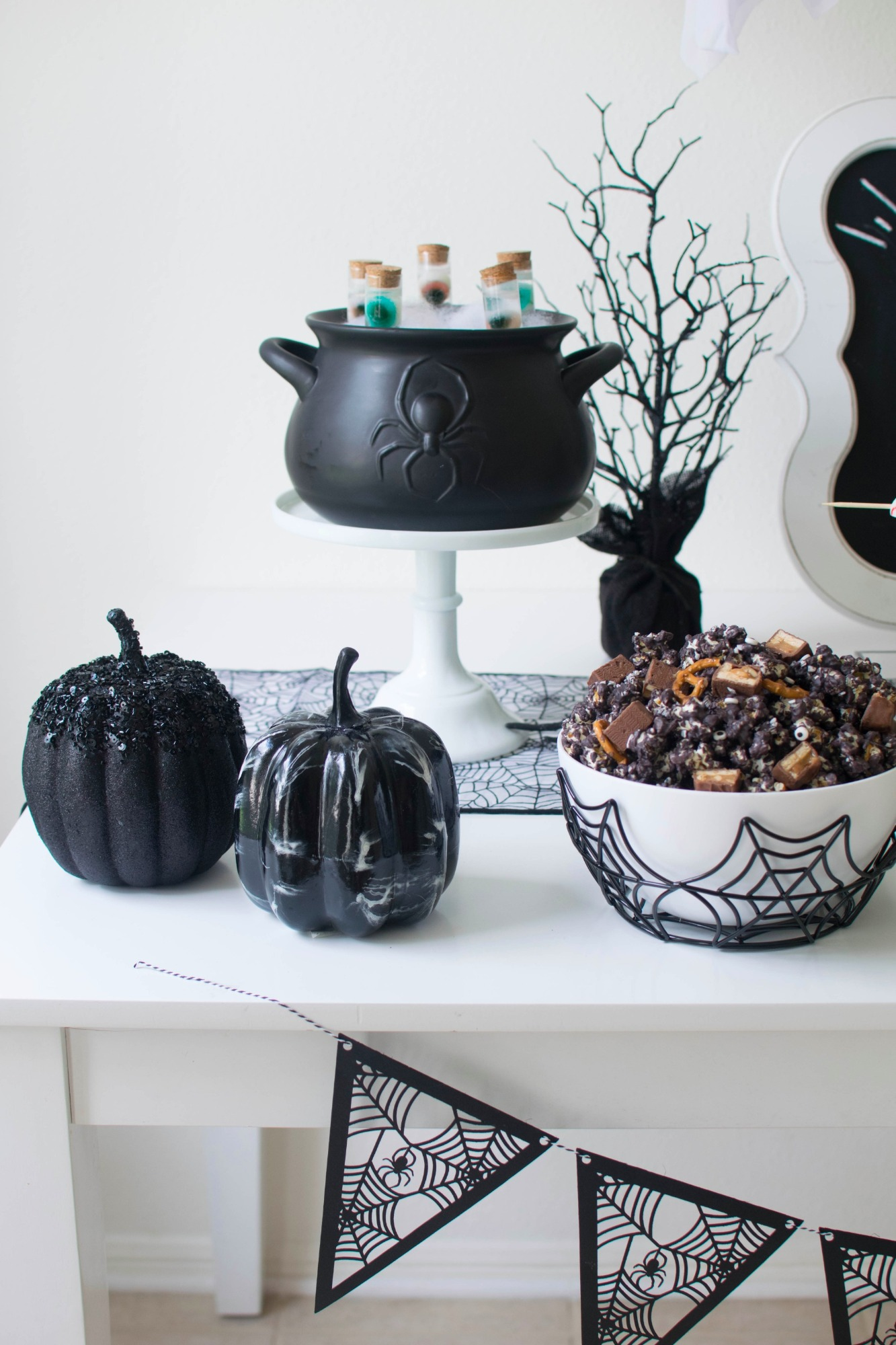 Pumpkins and cauldron from Ghostly Halloween Party by Twinkle Twinkle Little Party | Black Twine