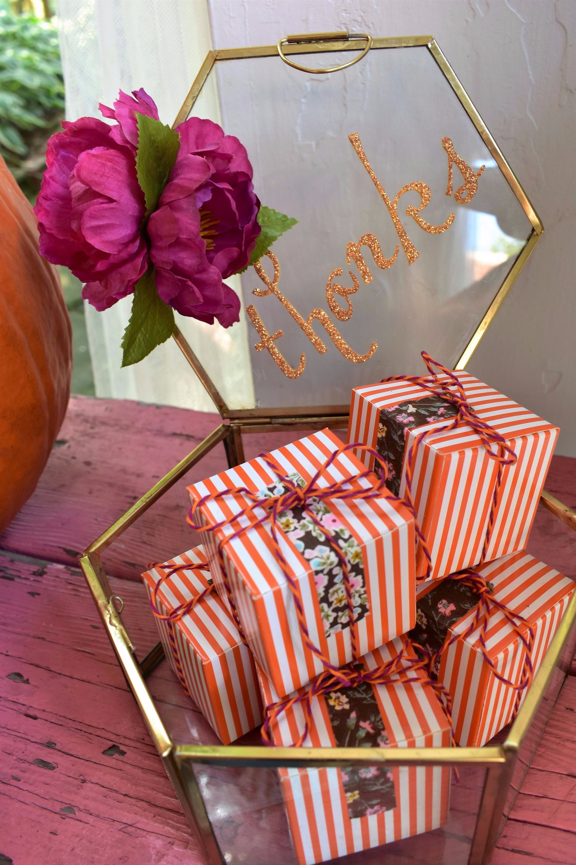 Pumpkin Orange Stripe Favor Boxes by Giggle Home Furnishings | Black Twine