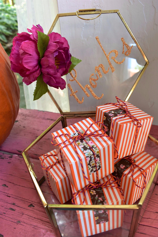 Pumpkin Orange Stripe Favor Boxes by Giggle Home Furnishings | Black Twine