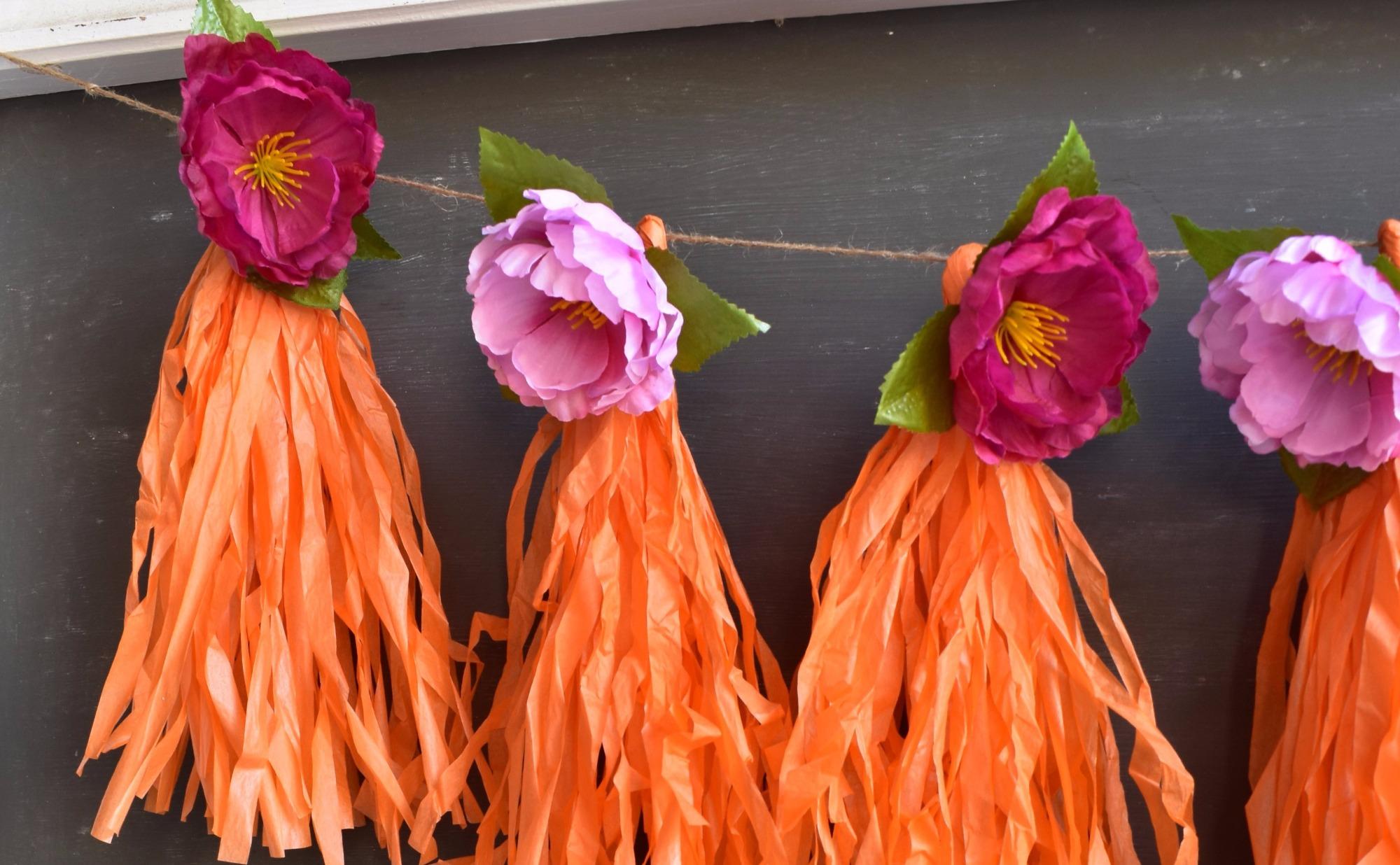 Orange Floral Garland by Giggle Home Furnishings | Black Twine