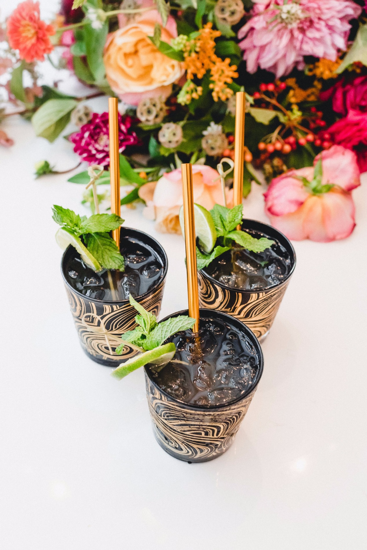 Moscow Mule with Black and Gold Malachite Glassware Jonathan Adler | Hella Cocktail | Black Twine