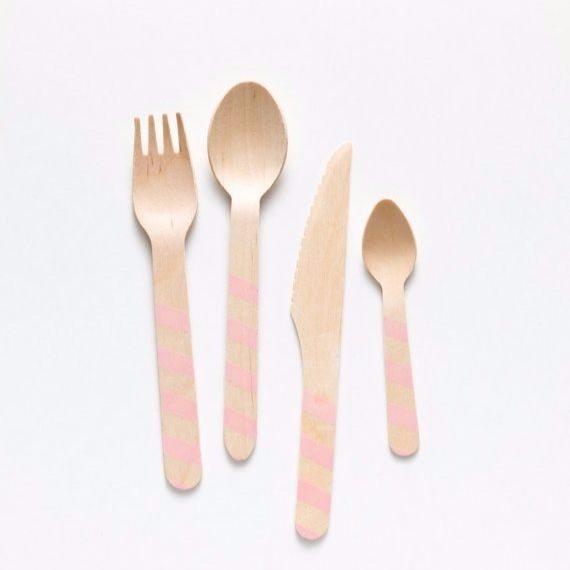 Pink Stripe Forks