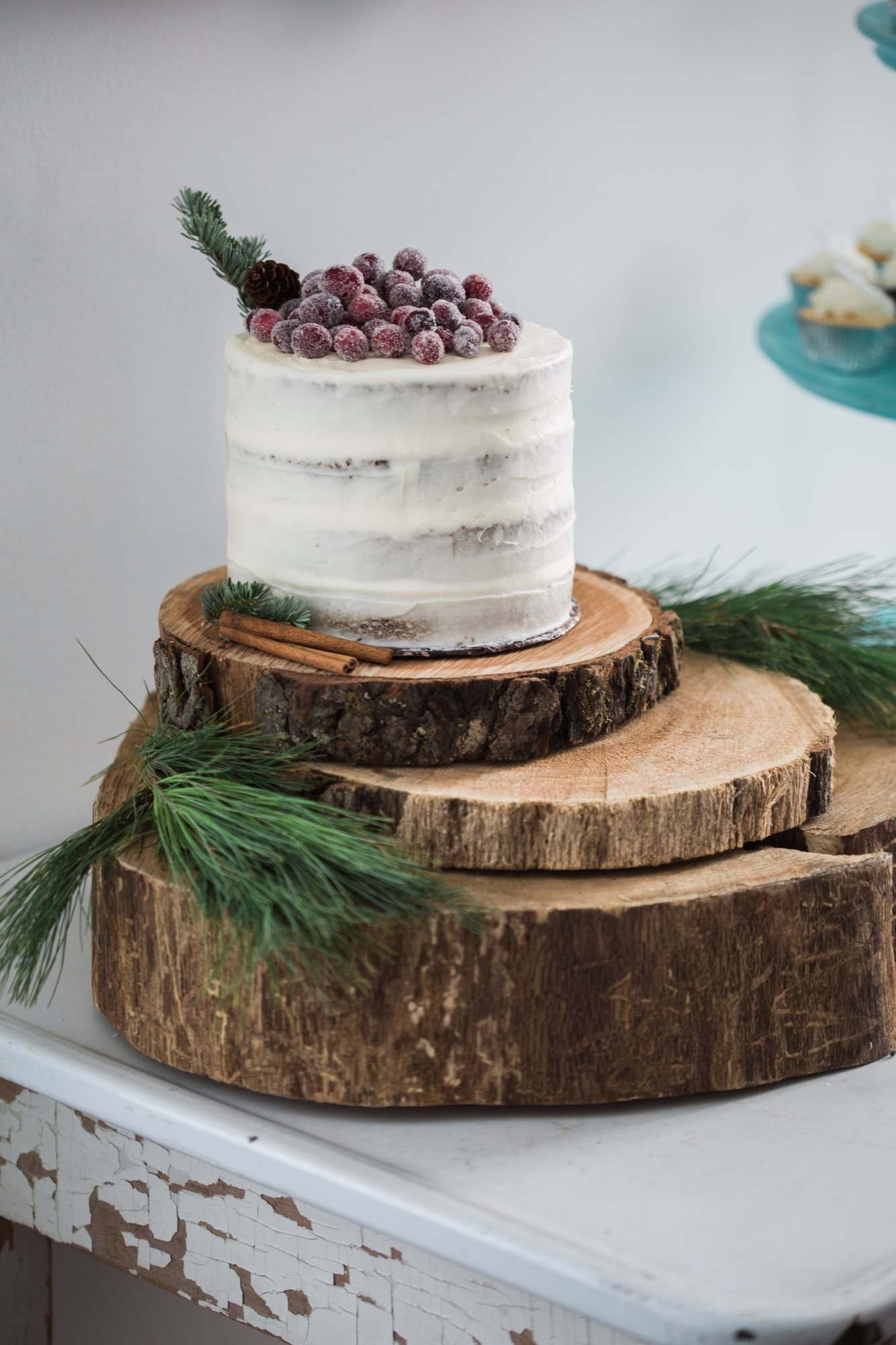 Cake on Wooden Cake Stand from Vintage Little Deer by Cherry Blossom Events | Black Twine