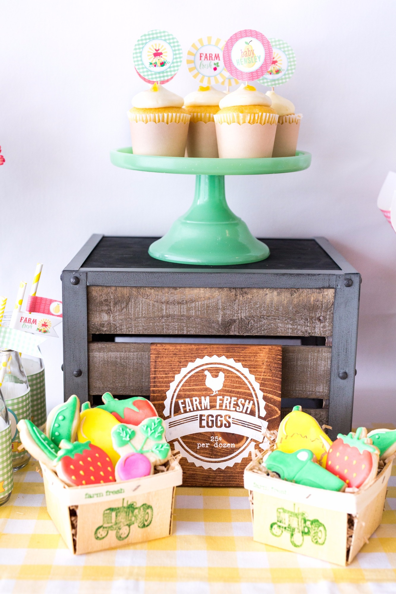 Cupcakes and Fruit & Veggie Cookies from Farm Fresh Baby Shower Styled by Black Twine