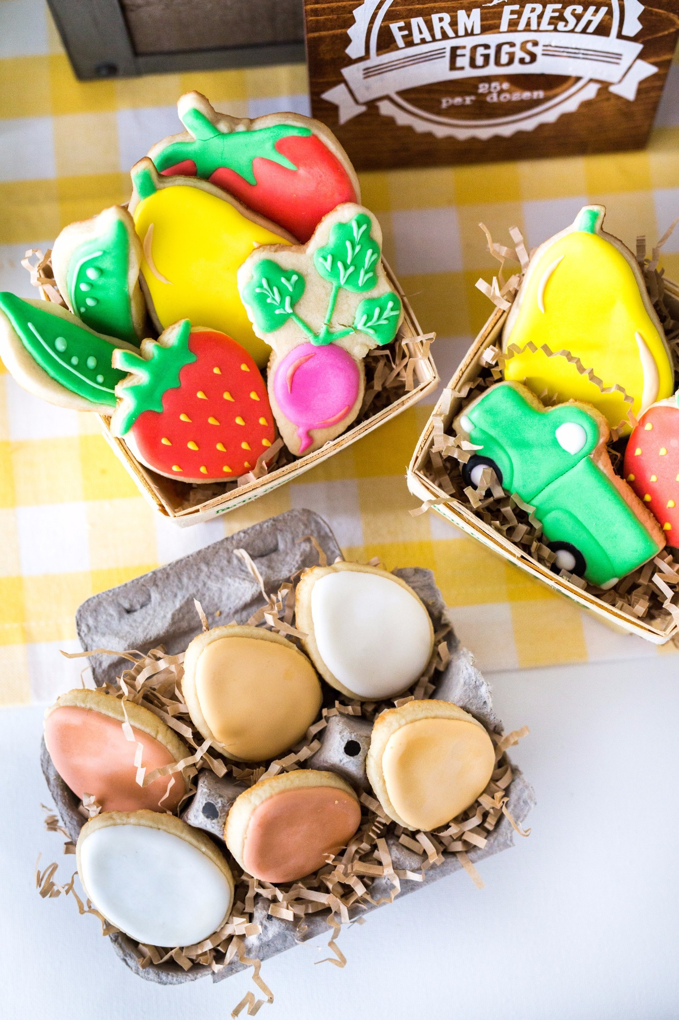 Egg and Fruit & Veggie Sugar Cookies from Farm Fresh Baby Shower Styled by Black Twine