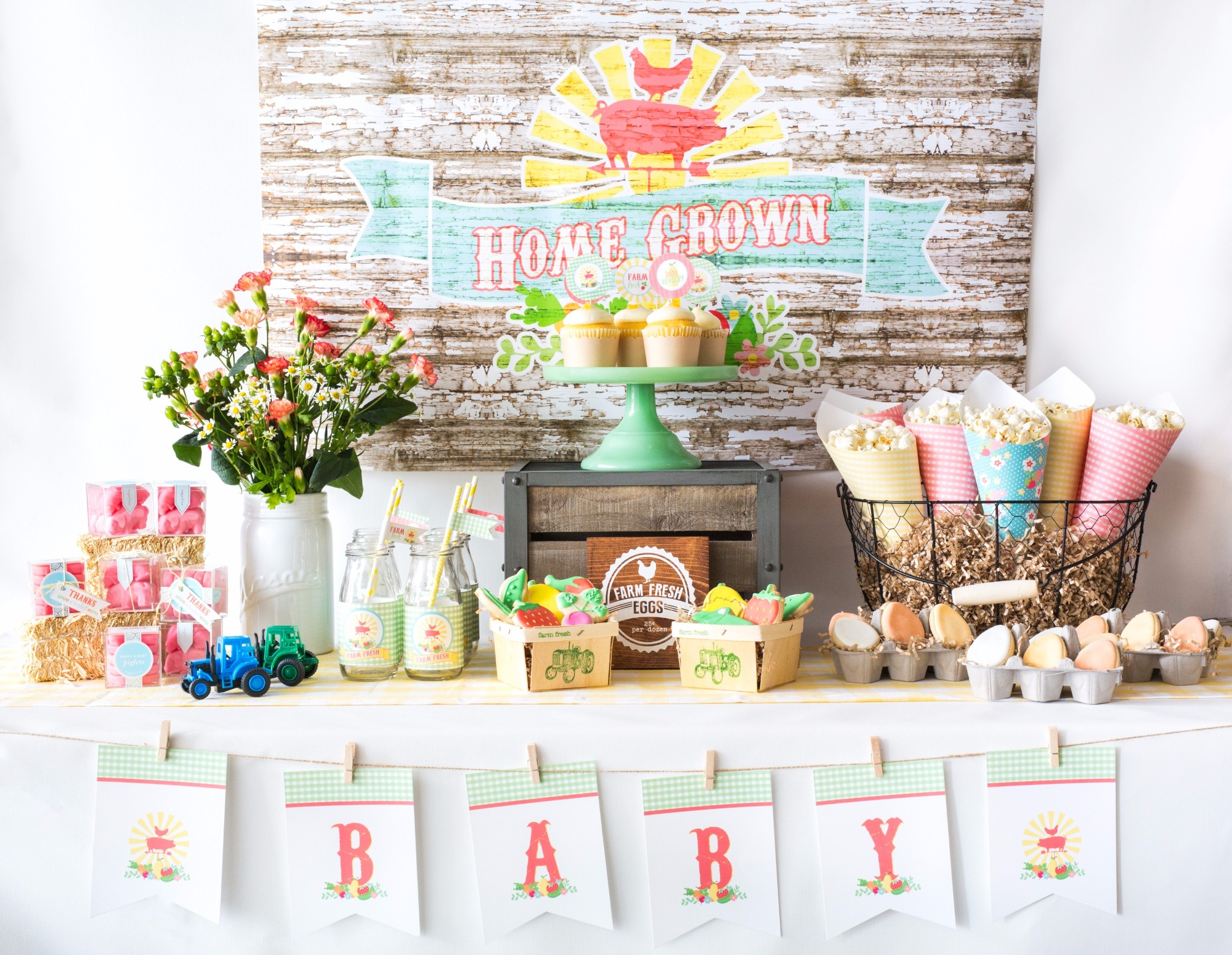 Home Grown backdrop & Dessert Table from Farm Fresh Baby Shower Styled by Black Twine