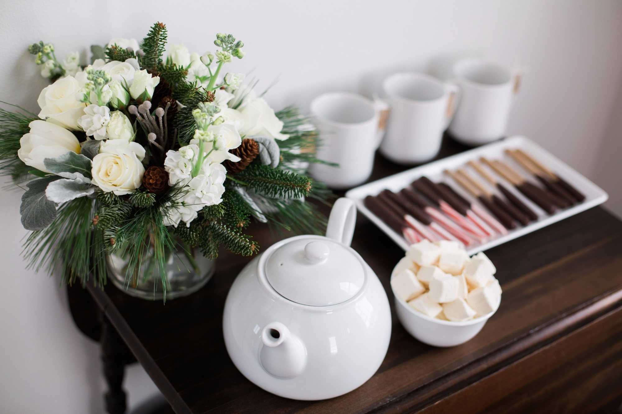 Hot Cocoa Bar from Vintage Little Deer Birthday Party by Cherry Blossom Events | Black Twine