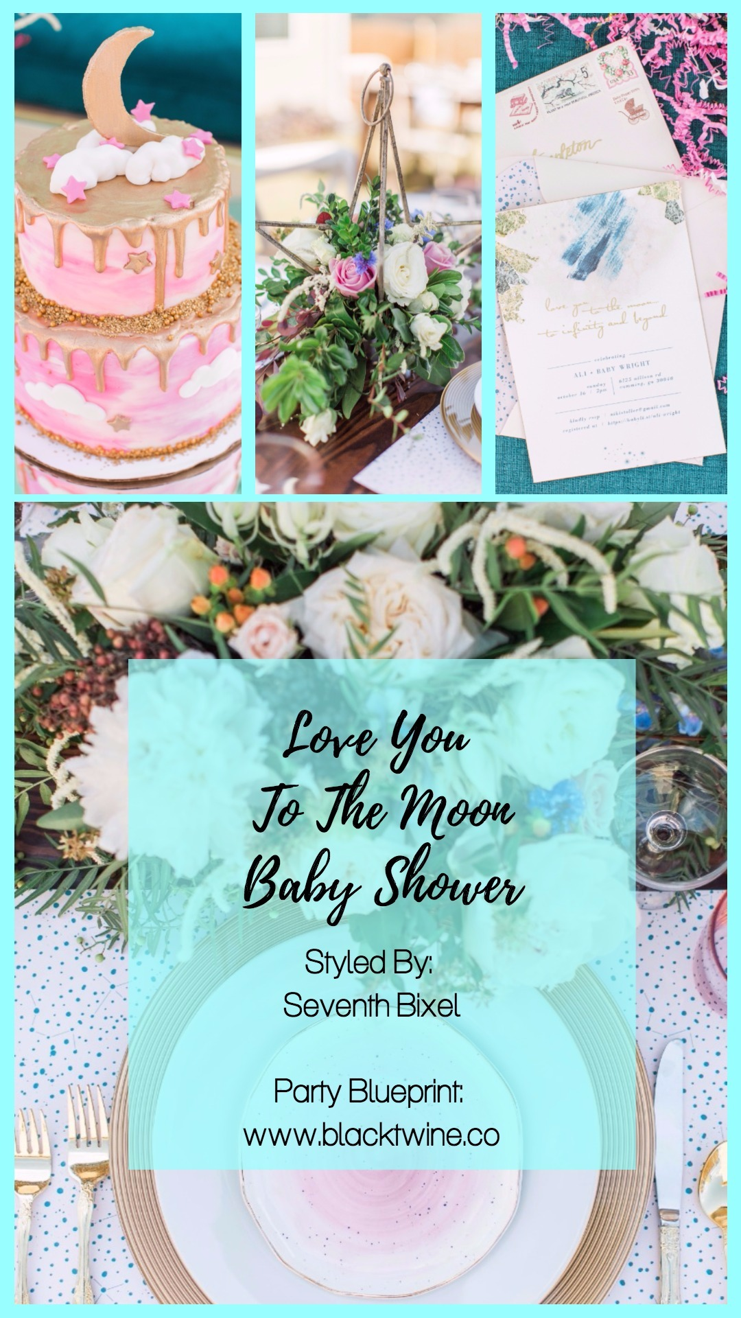Love You To The Moon Baby Shower by Seventh Bixel | Black Twine