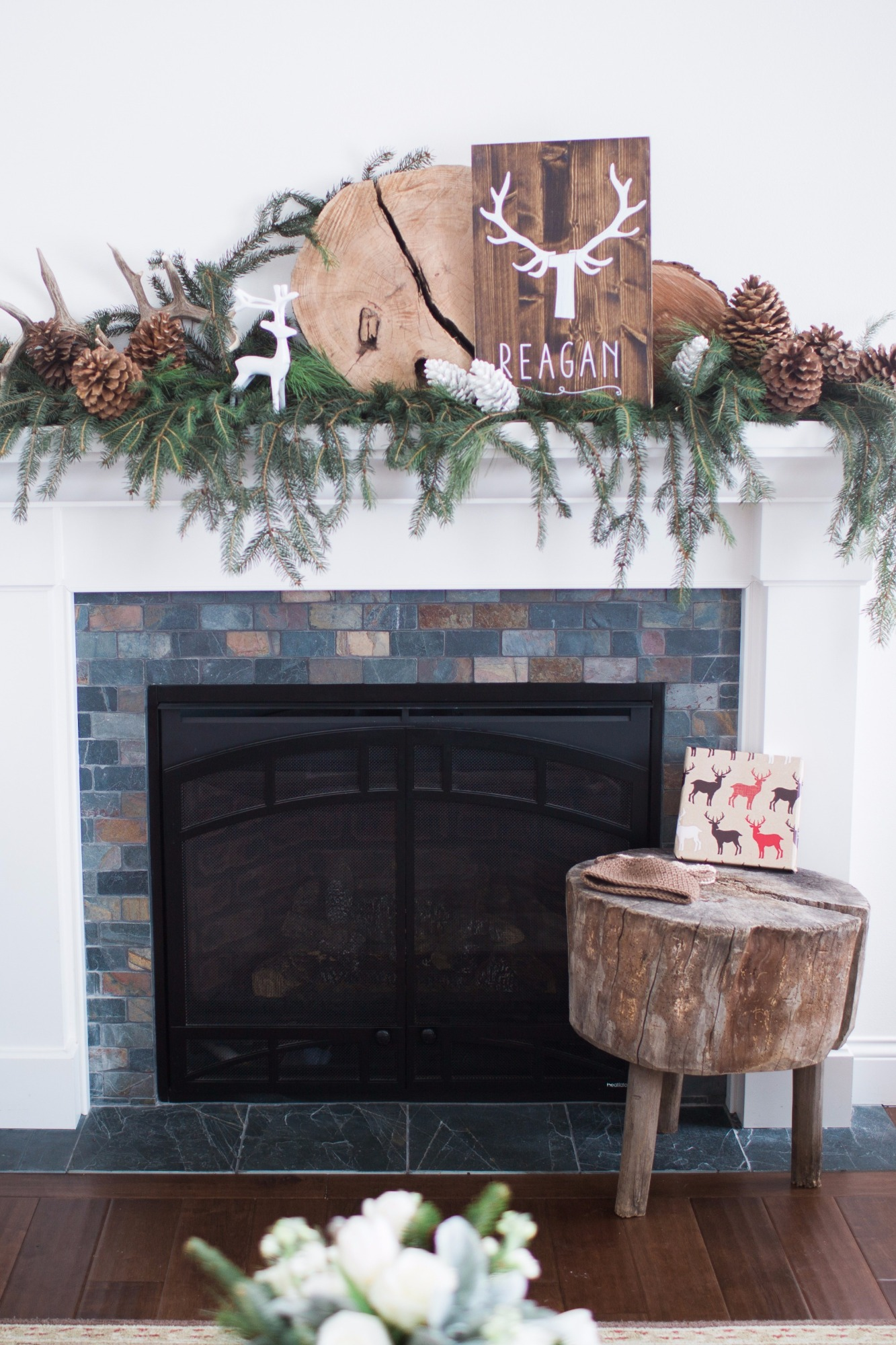 Fireplace Mantel Decor from Vintage Little Deer Birthday Party by Cherry Blossom Events | Black Twine