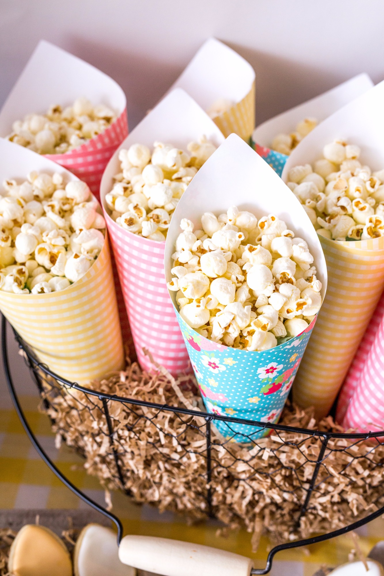 Popcorn Funnels in Basket from Farm Fresh Baby Shower Styled by Black Twine
