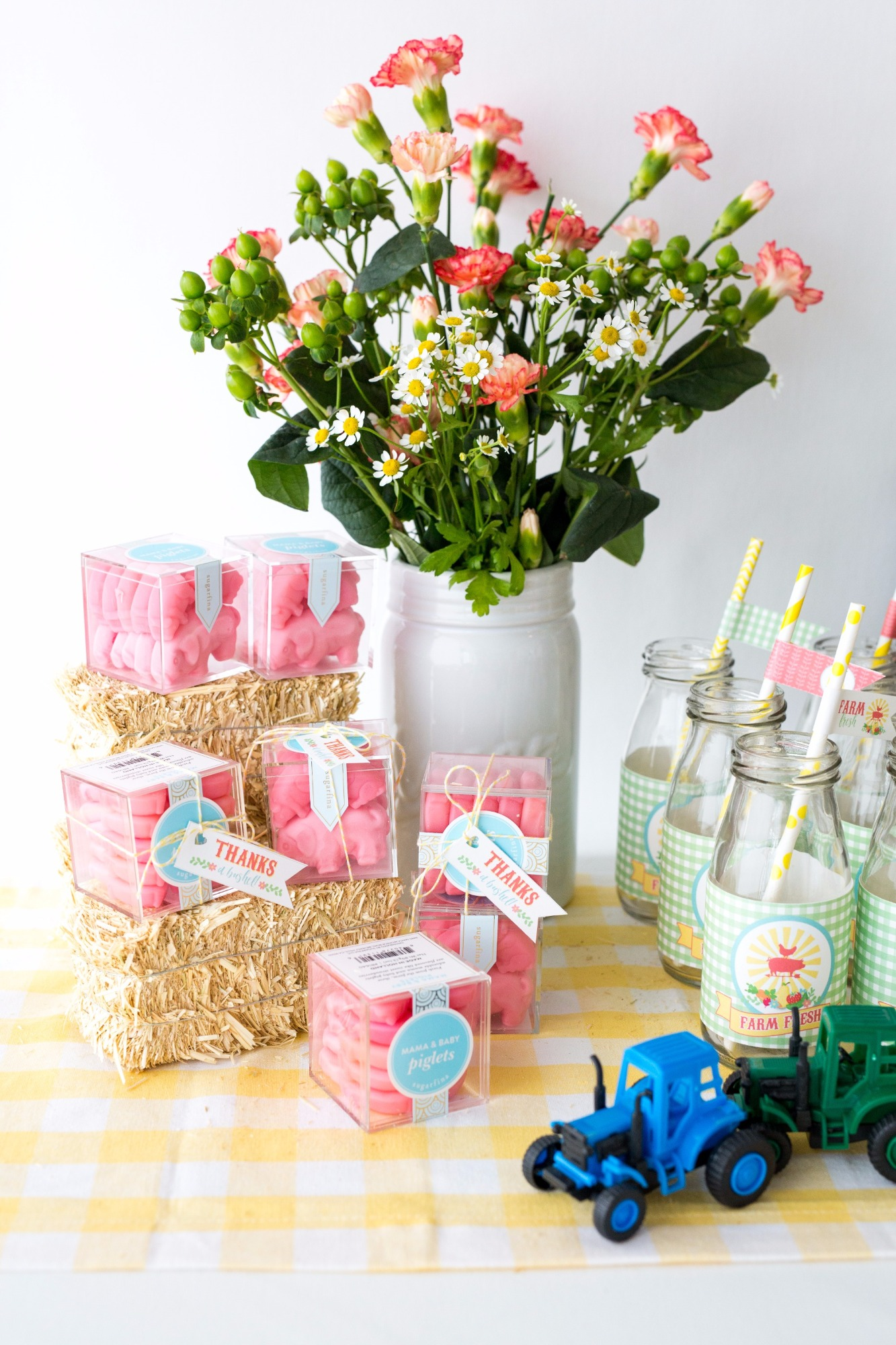Sugarfina Candy Cubes - Tractors - Milk Bottles - Flowers from Farm Fresh Baby Shower Styled by Black Twine