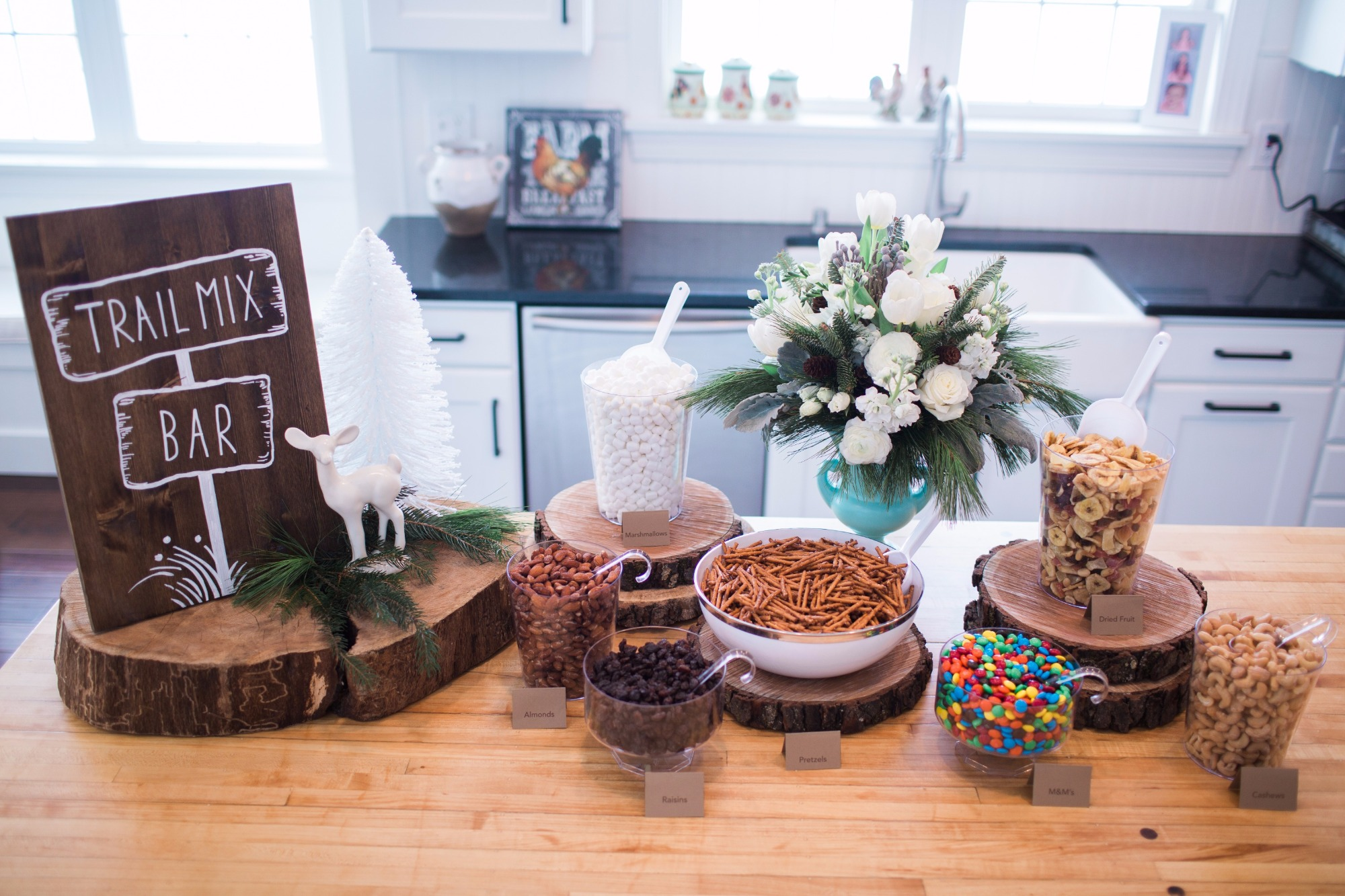 Trail Mix Bar from Vintage Little Deer Birthday Party by Cherry Blossom Events | Black Twine