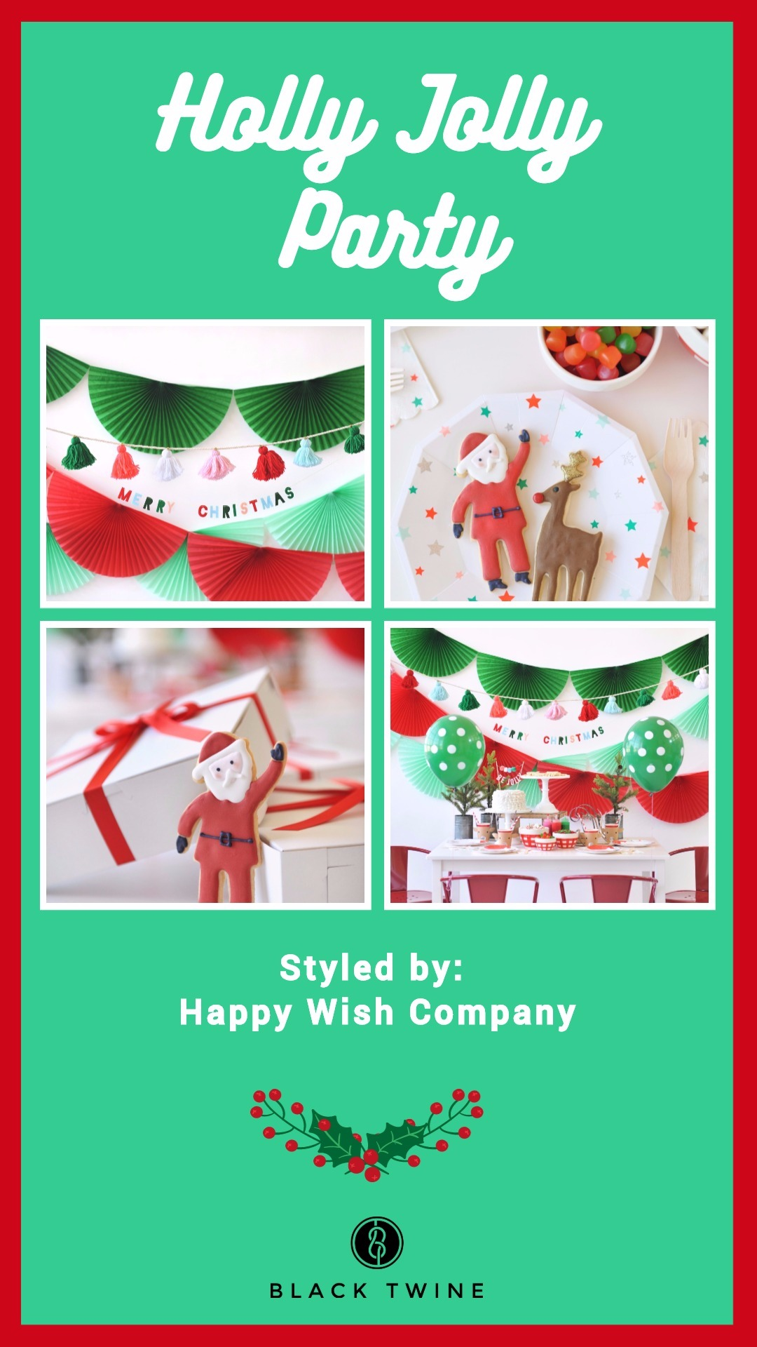 Holly Jolly Party by Happy Wish Company | Black Twine