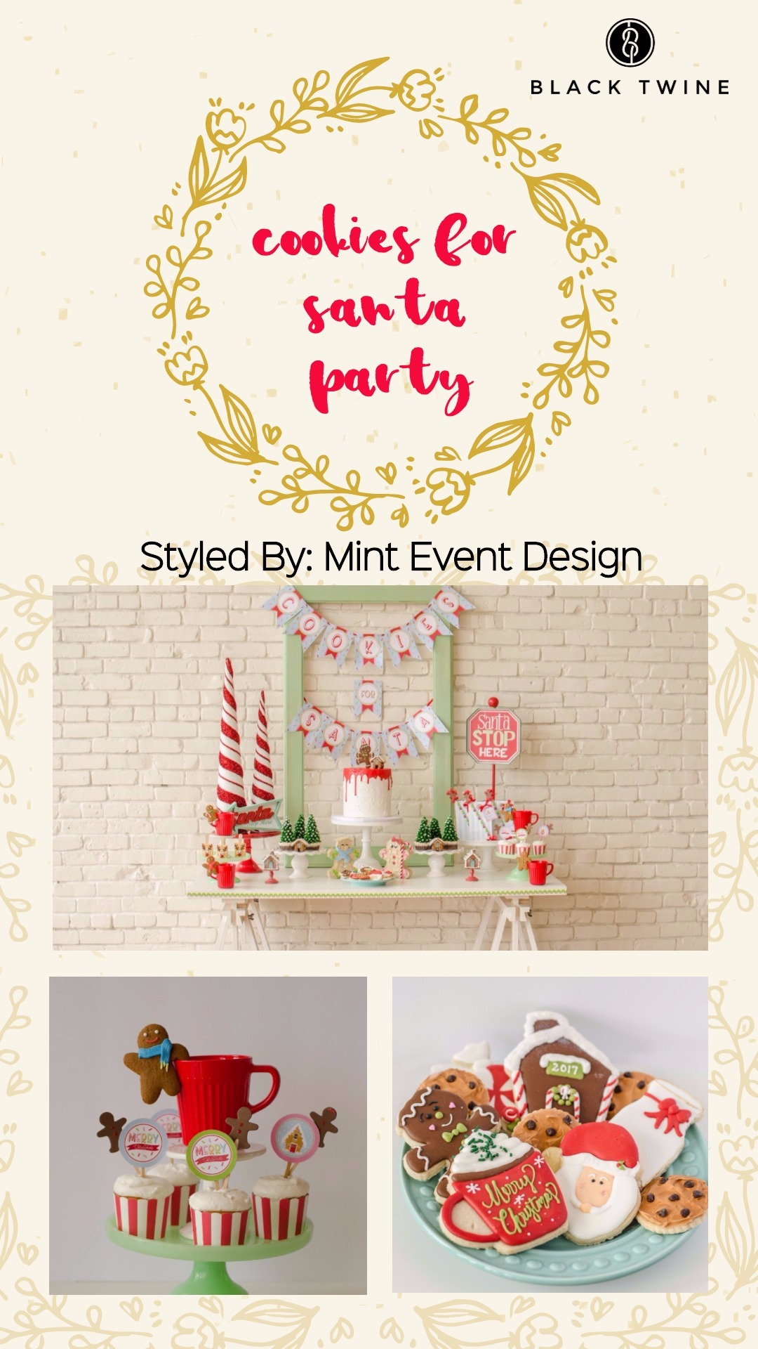 Cookies for Santa Party by Mint Event Design | Black Twine