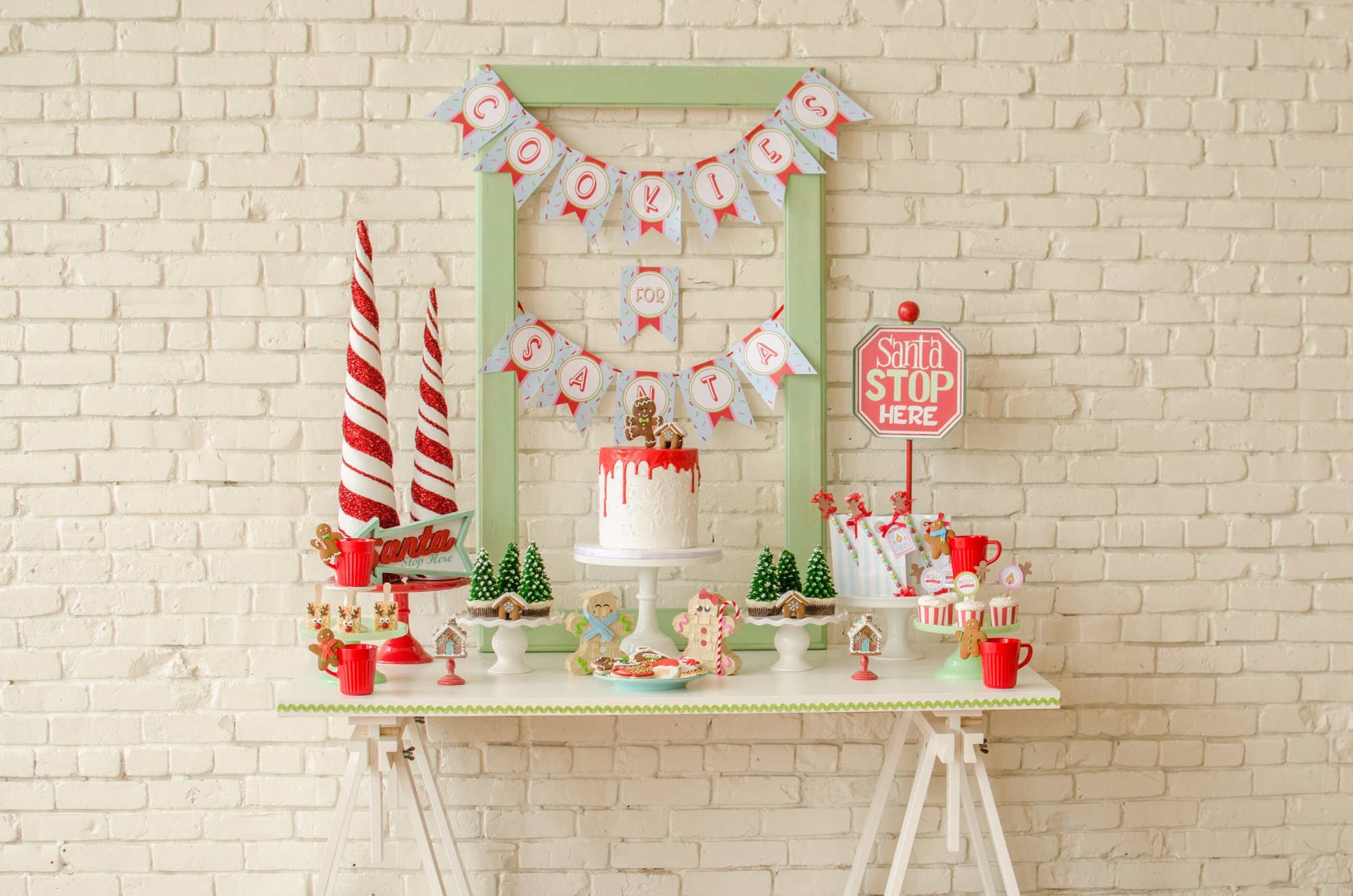 Dessert Table from Cookies for Santa Party by Mint Event Design | Black Twine