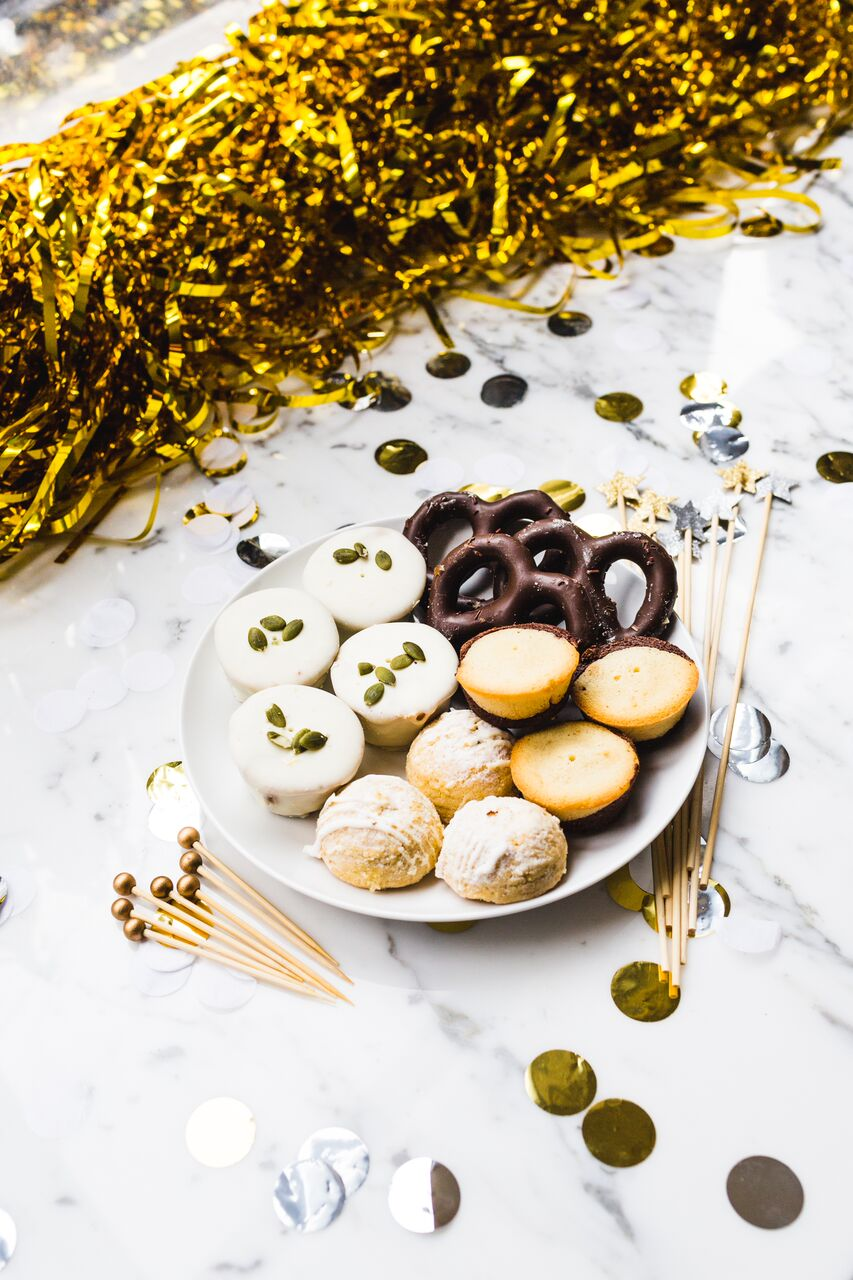 Cookie and mini dessert platter for New Year's Eve Party