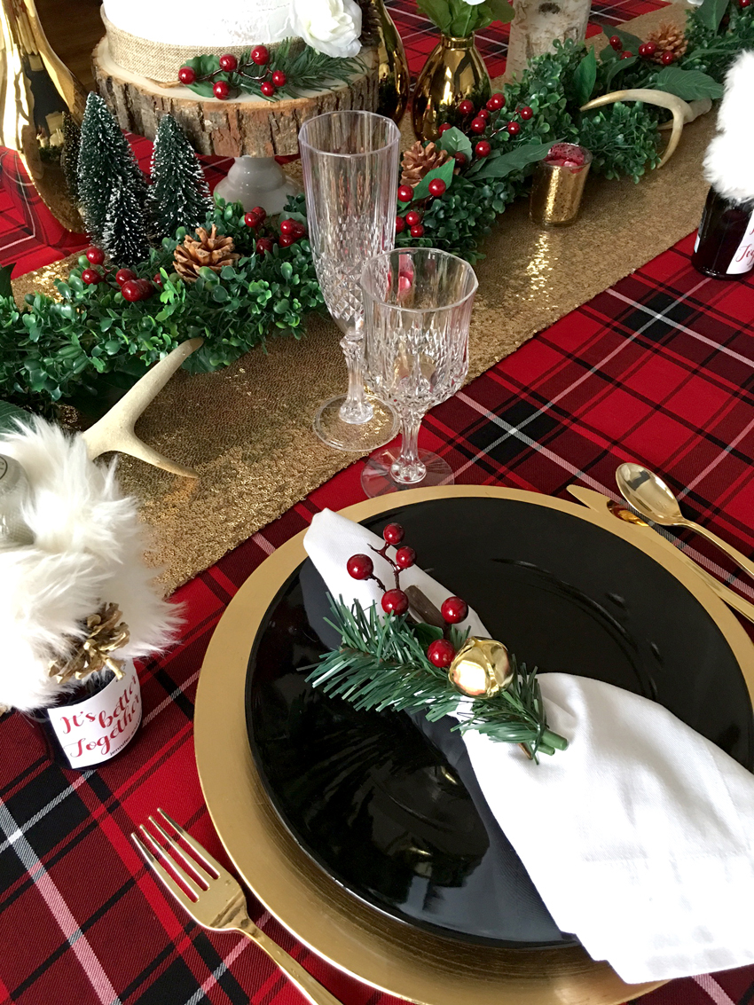 Place Setting from Winter Holiday Dinner Party styled by BellaGrey Designs | Black Twine