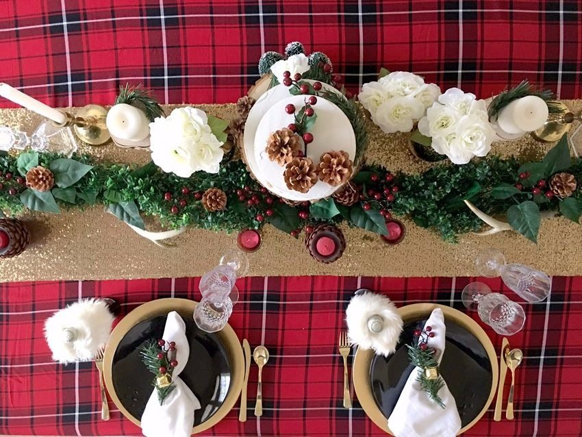 Pinecones Garland Tablescape from Winter Holiday Dinner Party styled by BellaGrey Designs | Black Twine