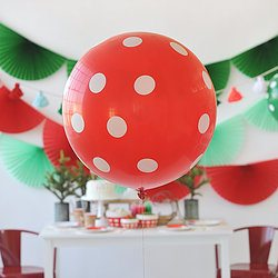 "36"" Balloon: Red with White Polka Dots - Happy Wish Company"
